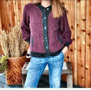 VTG  Mohair/ Wool Cardigan Chevron Balloon Sleeve